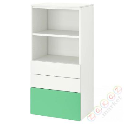 ⭐SMÅSTAD / PLATSA⭐Книжный шкаф, белый зеленый/с3 ящики⭐ИКЕА-59420829