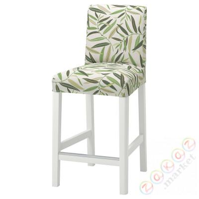 ⭐BERGMUND⭐Барный стул со спинкой, белый/Fågelfors разноцветный⭐ИКЕА-59399757
