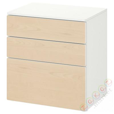 ⭐SMÅSTAD / PLATSA⭐Комод, 3 ящики, белый/береза⭐ИКЕА-89420192