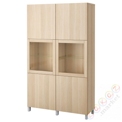 ⭐BESTÅ⭐Книжный шкаф/стаканане дверь, Лаппвикен под беленый дуб/Sindvik/Stubbarp светло-серый⭐ИКЕА-59424455
