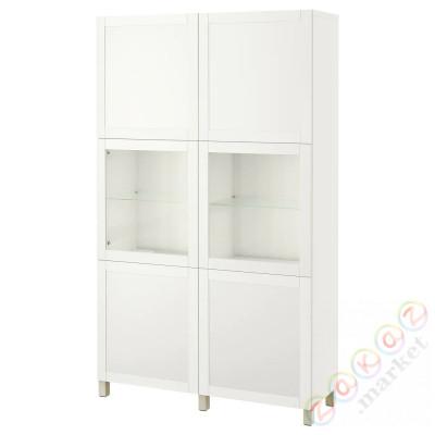 ⭐BESTÅ⭐Книжный шкаф/стаканане дверь, белое прозрачное стекло Sindvik/Hanviken/Stubbarp бежевый⭐ИКЕА-39424456