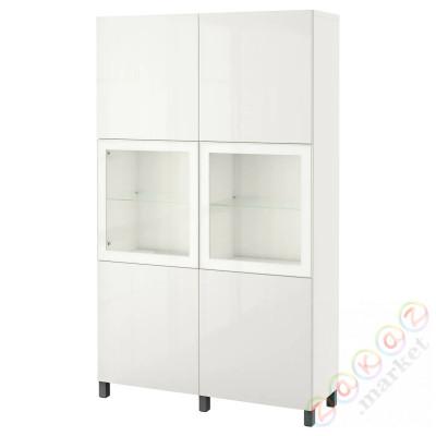 ⭐BESTÅ⭐Книжный шкаф/стаканане дверь, белое прозрачное стекло Glassvik/Selsviken/Stubbarp темно-серый⭐ИКЕА-69424474